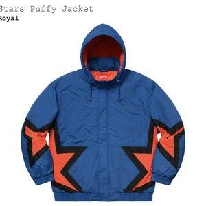 SUPREME Stars Puffy Jacket Royal Blue / Orange • L
